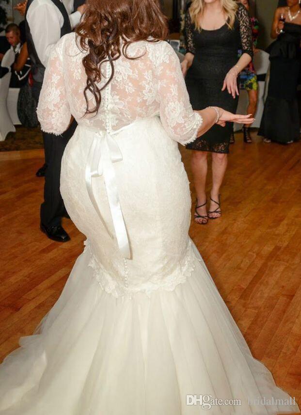 Plus Size Mermaid African Suknie ślubne z 3/4 Rękawy Koronki Top Bride Sukienka Przyciski Powrót Tulle Suknie Ślubne Niestandardowe Vestidos De Novia