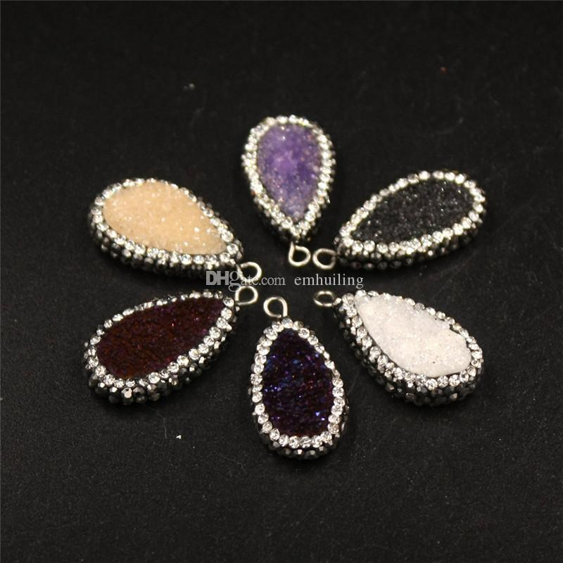 Available Newest Druzy Amethyst Beads Necklace Oval Blue Champagne Purple White Wine Red Druzy Pave Zircon Crystal Gem Necklace