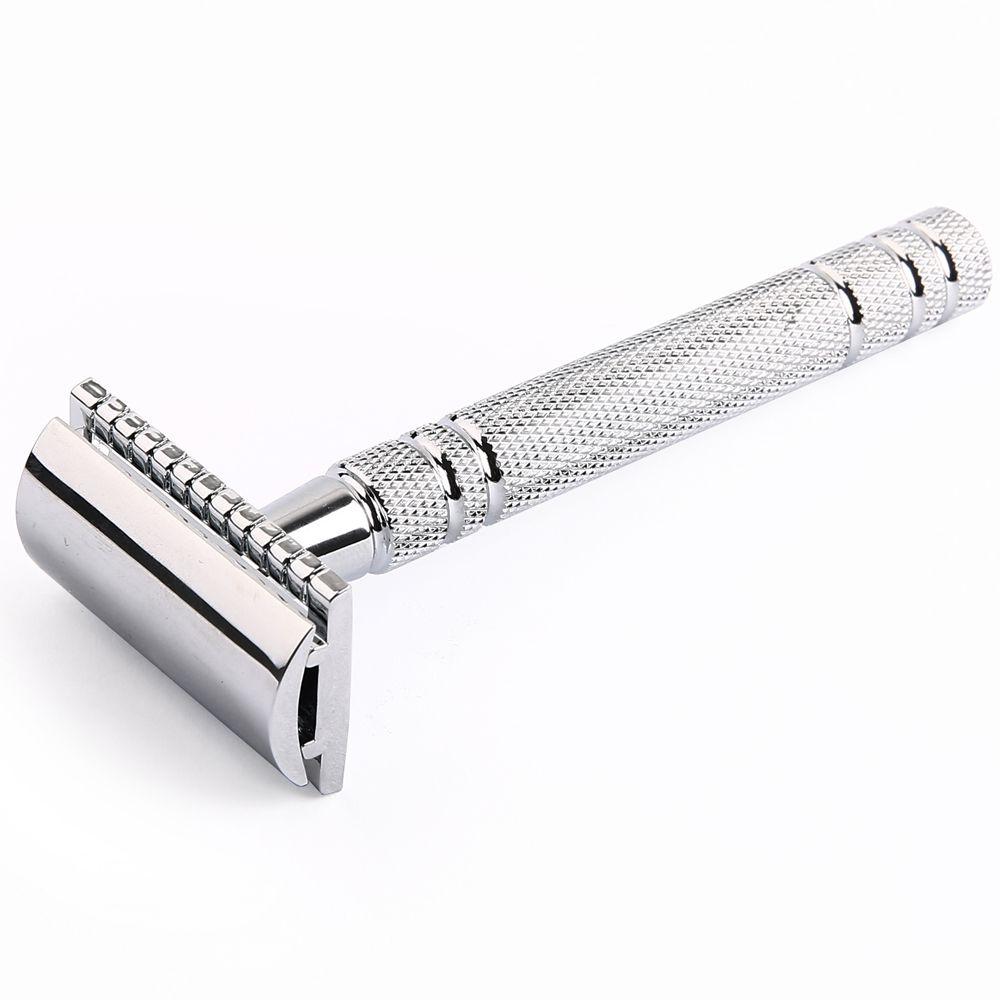 1 Razor 10 Blades Shaving Men Double Edge Razor Bright Brass Blade Replaceable Manual Classic Safety Razor