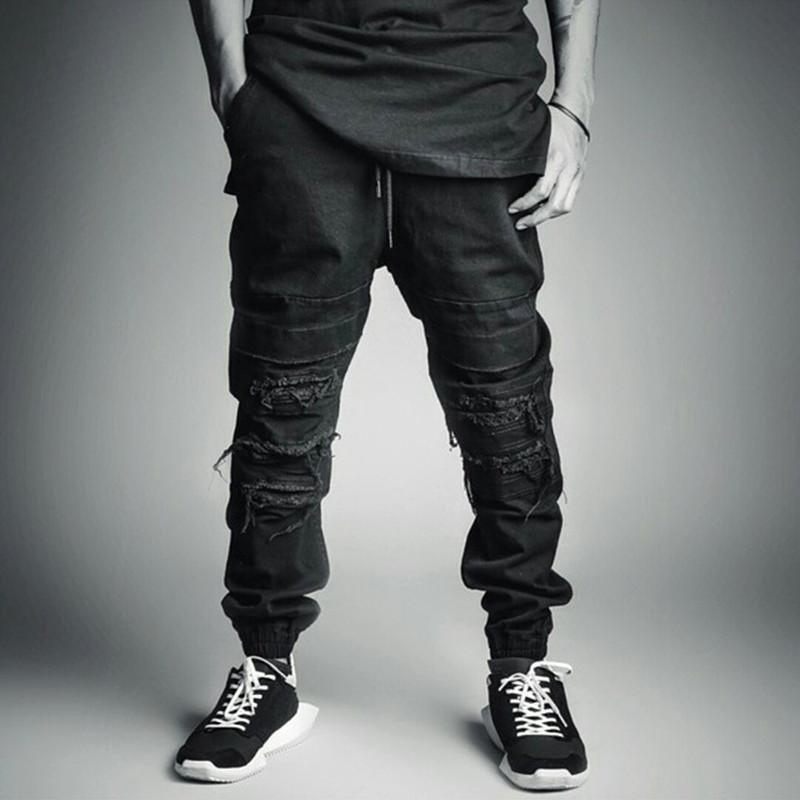2018 Wholesale Summer Style Black Mens Jeans Joggers Cool
