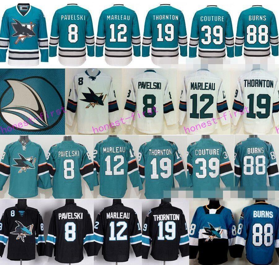 0960ab0bf ... 2017 San Jose Sharks Ice Hockey Jerseys Stadium Series 8 Joe Pavelski  12 Patrick Marleau 19 ...