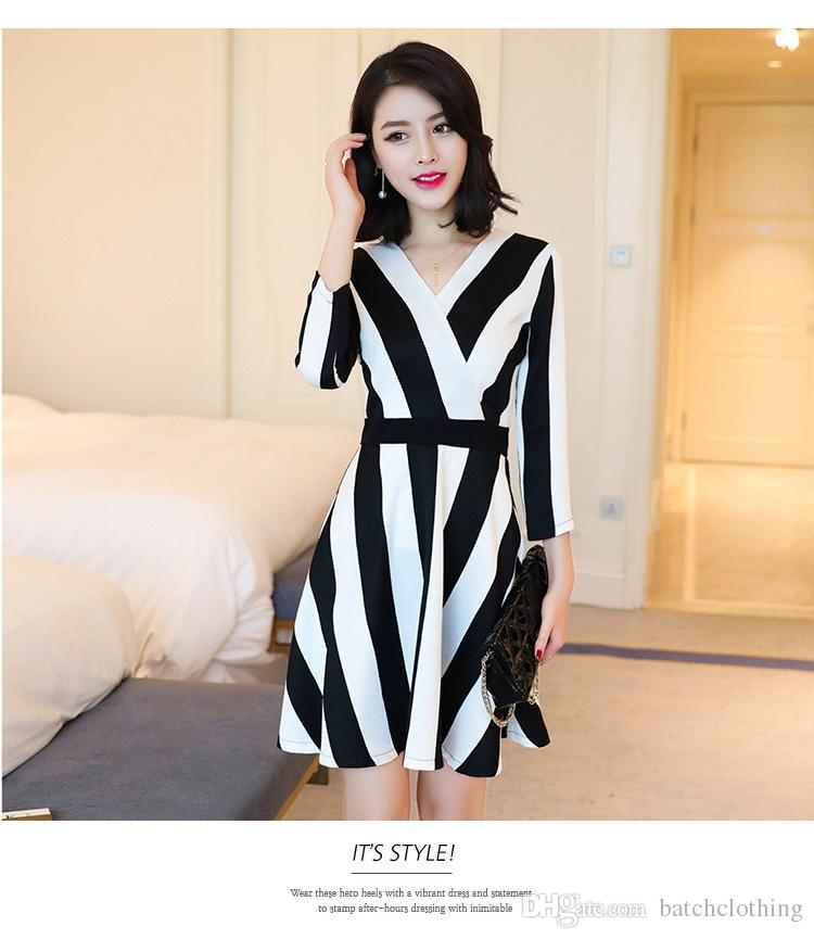 cb0a26fc0a Autumn Ladies Dresses Black Plus White Spell Color Vertical Striped  Polyester Tight Dress Short Sleeves Women OL Business Wear White Lace Dress  Casual Green ...