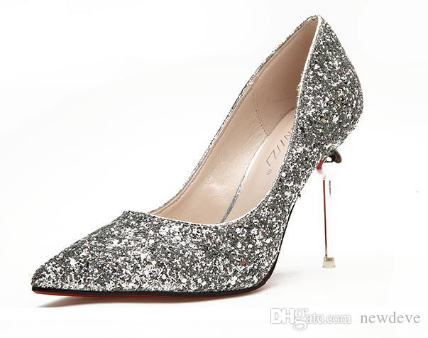 Bling Bling Full Sequins Wedding Shoes Sliver Gold Red Pointed Toe Bridal Accessories High Heel Shoe