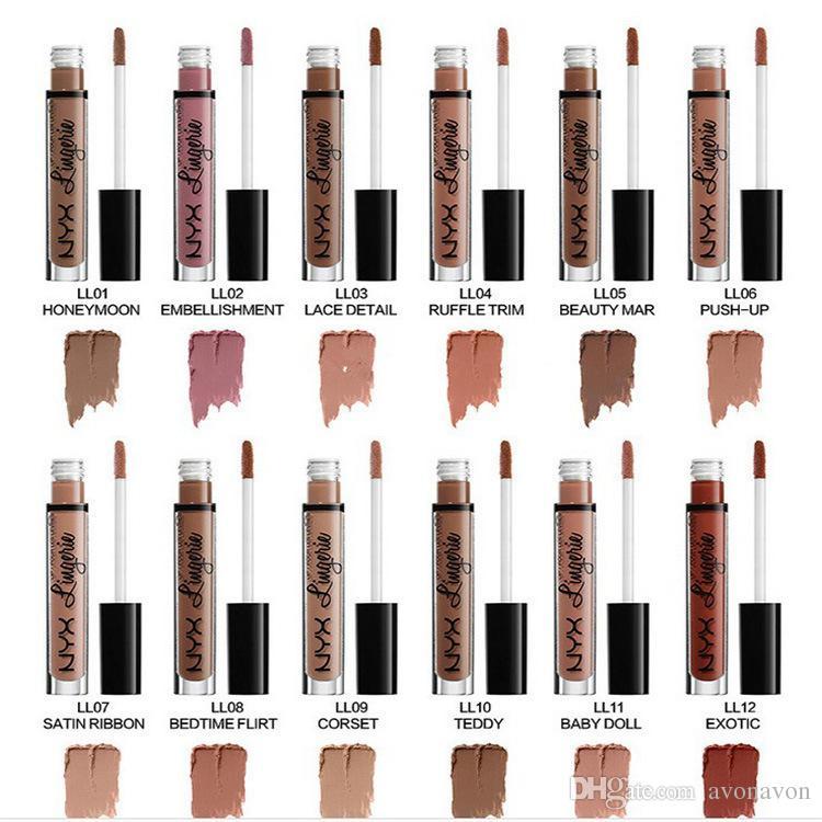 최저 가격 / NEW MAKEUP NYX LIP LINGERIE MATTE 누드 벨벳 액체 립스틱 에이 / 12 색 B758 립글로스