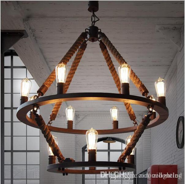 Loft Hanging Lights Vintage Rope Light Double Layers Iron Lamp Manmade Fixtures Industrial Style Hotel Pub Decoration Lighting Home