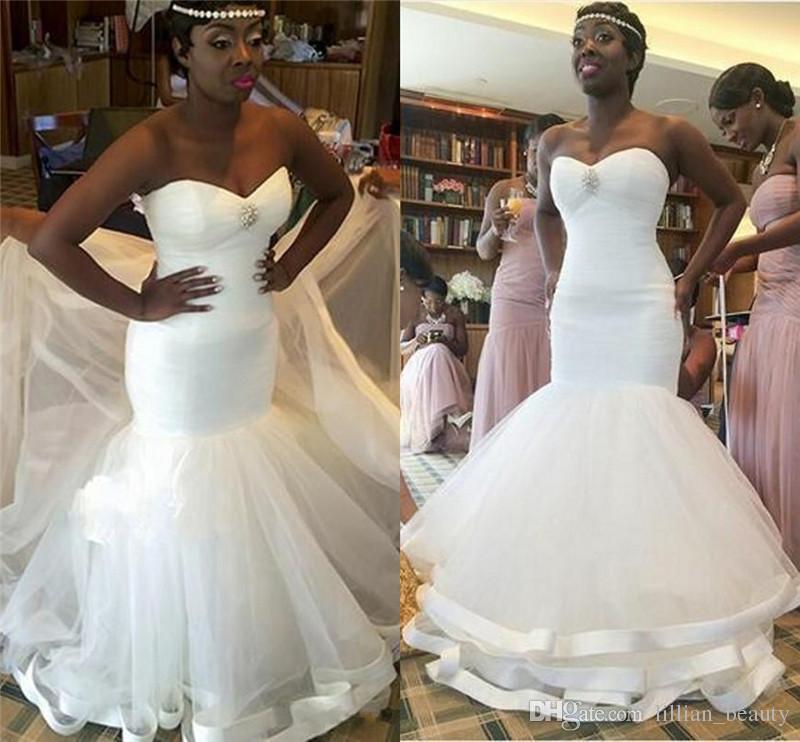 White Ivory Plus Size Mermaid Wedding Dresses 2017 Black Women ...