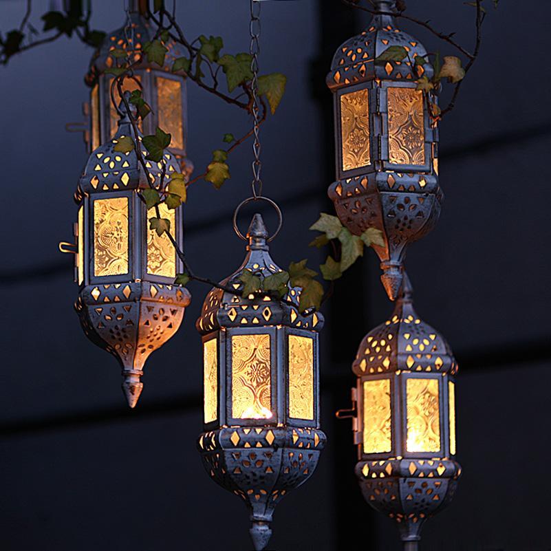 Home Decor Vintage Metal Hollow Glass Moroccan Hanging Tea Light Holder Decorative Lantern Matching Block Candle Small Tealight