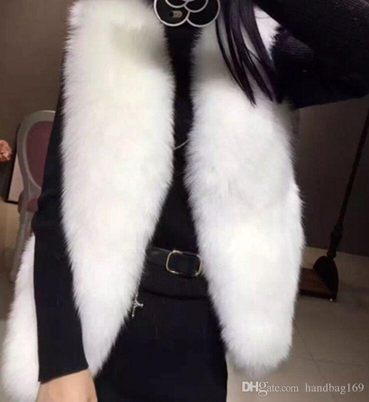 S-3XL Brasão Mulheres Faux Fox Fur Vest Inverno Quente casaco de pele casaco de lã Femme pele Coletes Moda Luxo Mulheres Jacket Gilet Veste Feminino