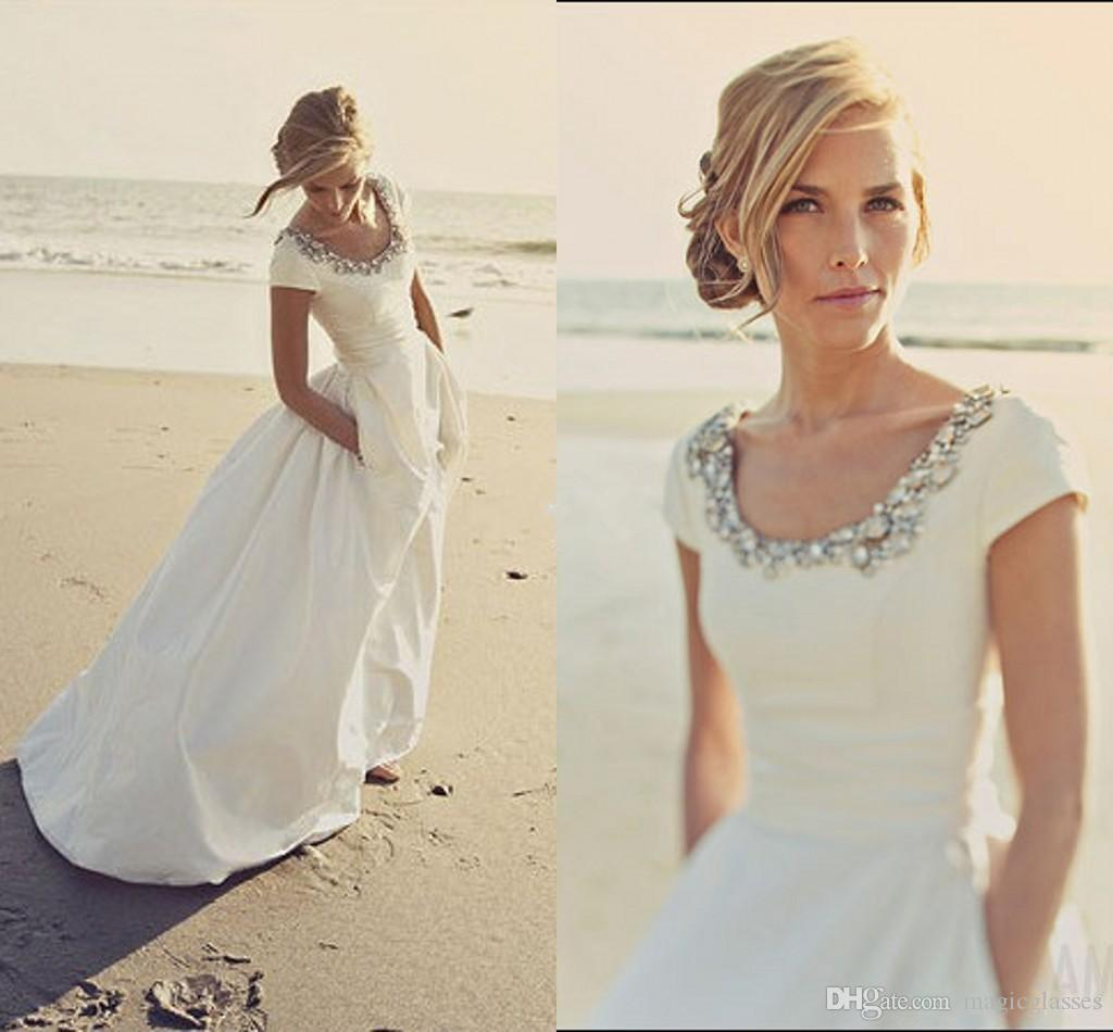 2017 Modern Wedding Dresses with Pockets and Short Sleeves Scoop Beading White Taffeta Cheap Spring Beach Wedding Bridal Gowns Custom Made