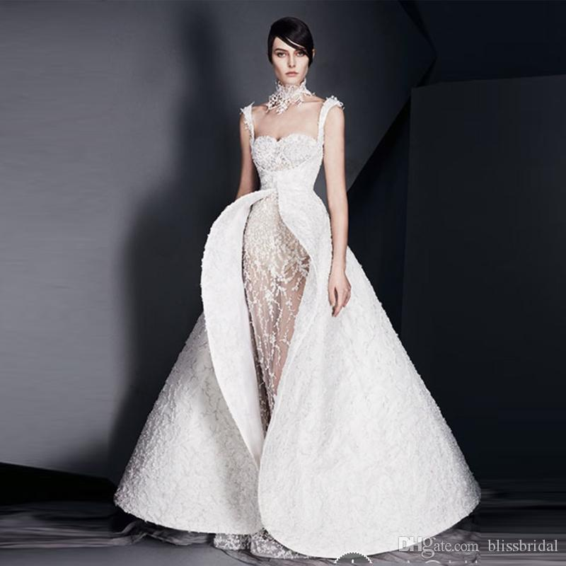 New Design White Applique Formal Evening Gown Sheer Tulle Lace Mermaid Prom Dress Spaghetti Detachable Scoop Back Reception Dress