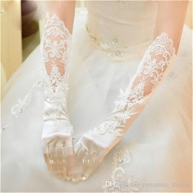 Neue Ankunft Hochzeit Handschuhe Elegante volle Finger-Brauthandschuhe mit Appliqued für Hochzeitskleid Weiß / Elfenbein Hochzeitszubehör