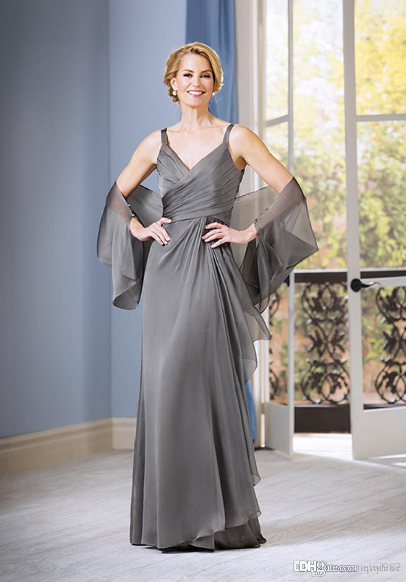 Grey Color Hollow Back Mother Of The Bride Dress V Neck Evening Gowns Plus Size Mothers Formal Wear With Jacket Free shipping