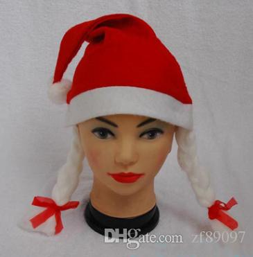 nonwovens christmas hat with braid funny christmas hat christmas cap santa claus hat novelty christmas hat braid hat christmas decoration online with - Funny Christmas Hats Adults