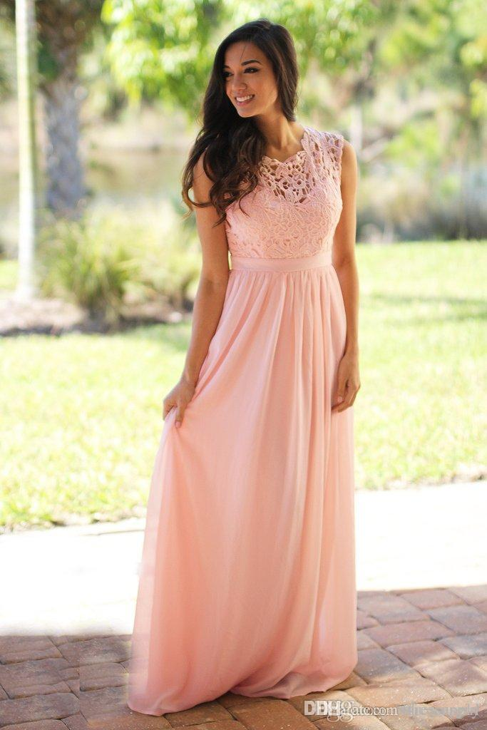 Only $59 Pink Bridesmaid Dresses Jewel Chiffon Floor Length Lace Zipper Back Long Wedding Guest Dresses Maid Formal Party Dresses Cheap