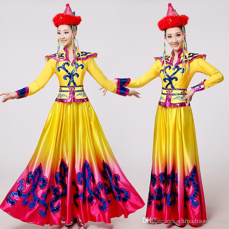 7c826c22986 New Style Yellow Mongolian Clothing Stage Performance Wear Dance ...