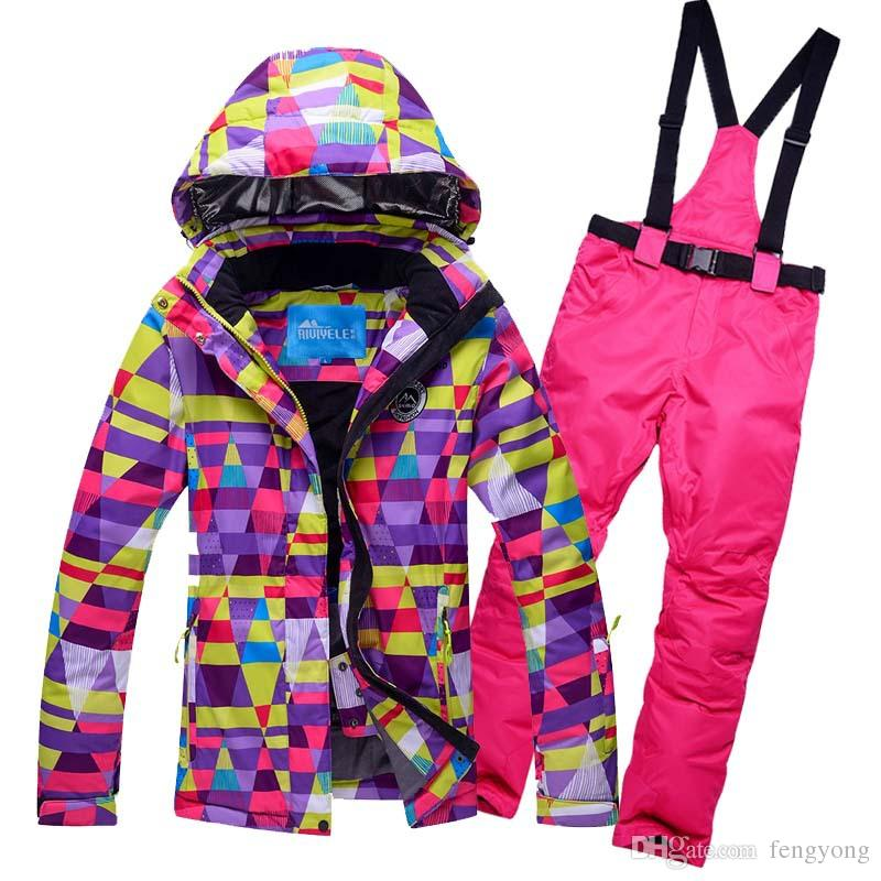2017 new women ski suit suits skiing windproof waterproof warm female models skiing