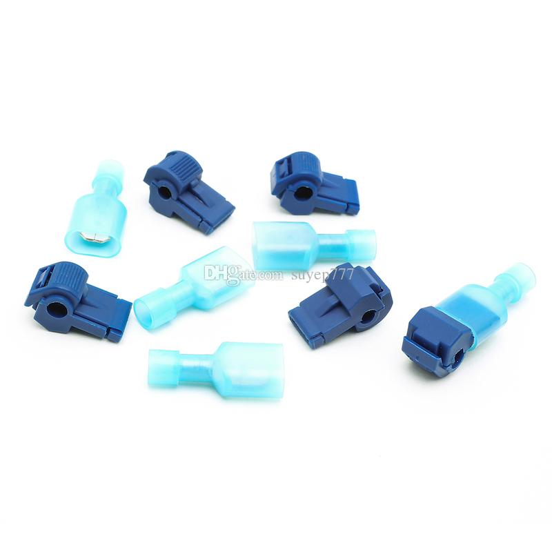 Suyep Self-Stripping Electrical T-Tap Wire Spade Connectors 16-14 Gauge Quick Splice Wire Terminals and Fully Insulated Male Butt Terminal C