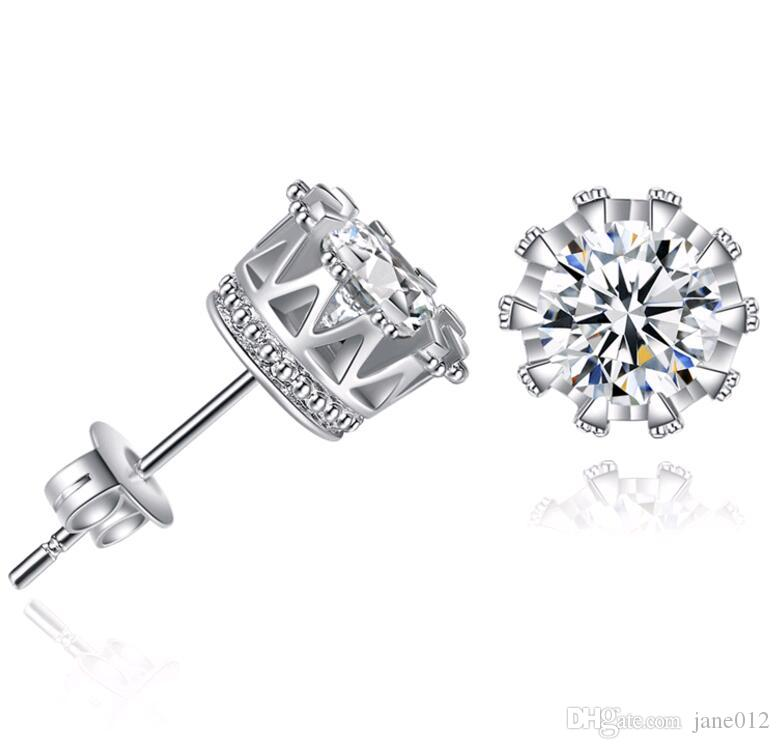 New Design Silver 6mm Zircon Studs Crown earrings for Men Women Wedding / Engagement Party Jewelry Accessories