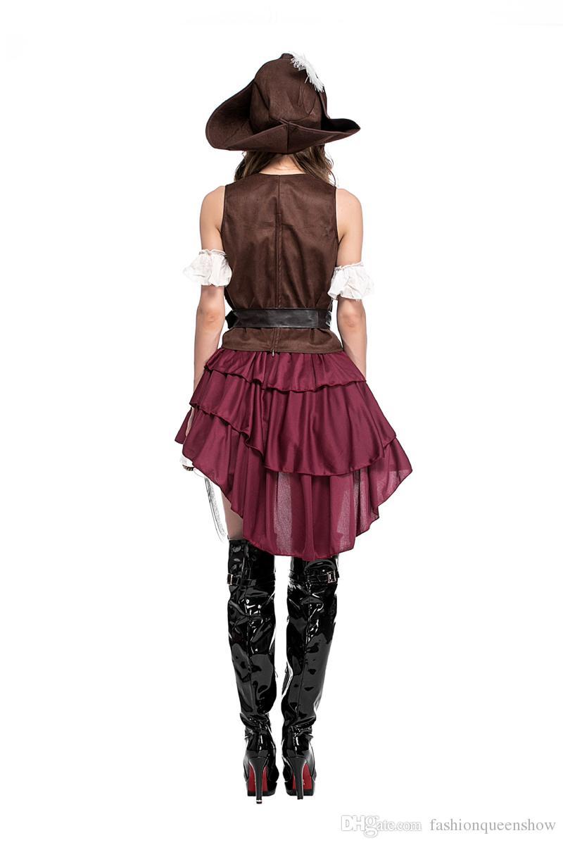 Klasik Seksi Kadınlar Korsan Kostüm Vintage Gotik Fantezi Elbise Cadılar Bayramı Karnaval Temalı Parti Corsair Cosplay Kıyafetleri