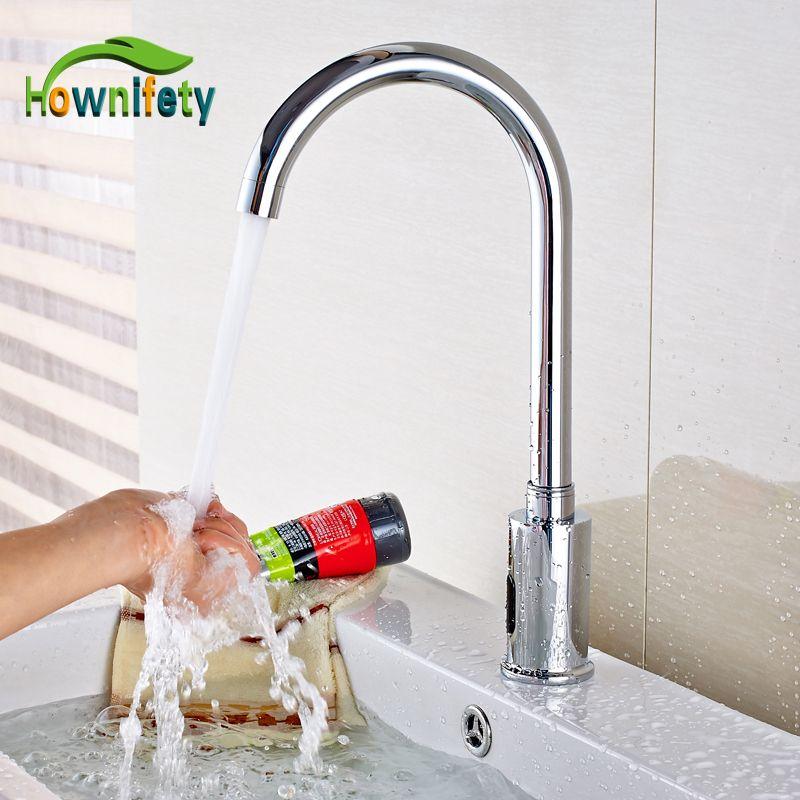 2018 Wholesale New Chrome Brass Bathroom Sink Faucet Automatic ...