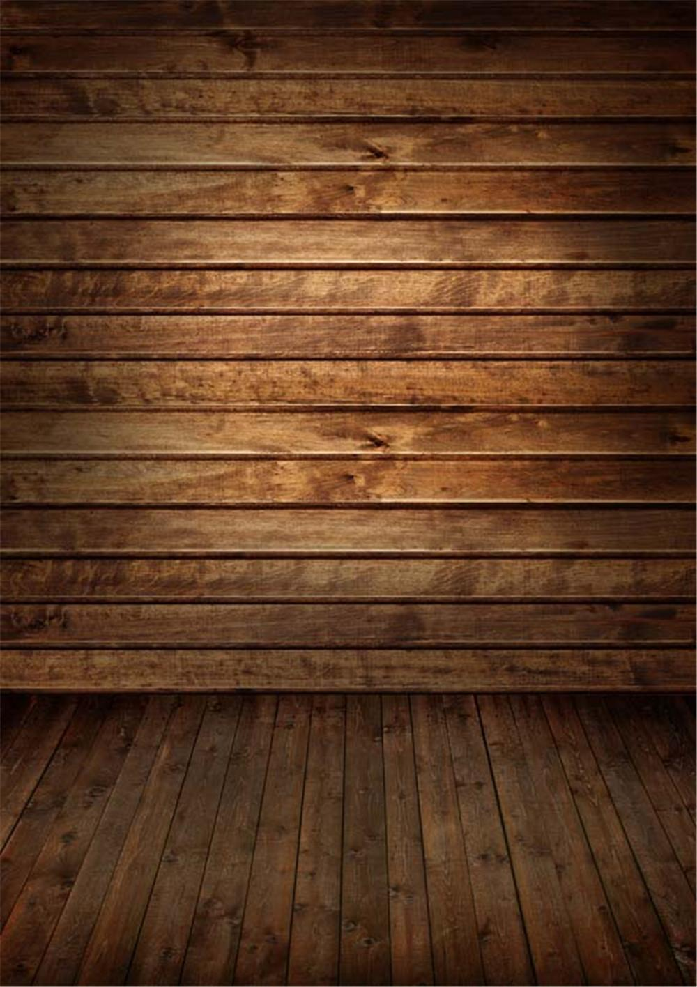 Brown Wooden Wall Floor Photography Backdrops Vinyl Baby
