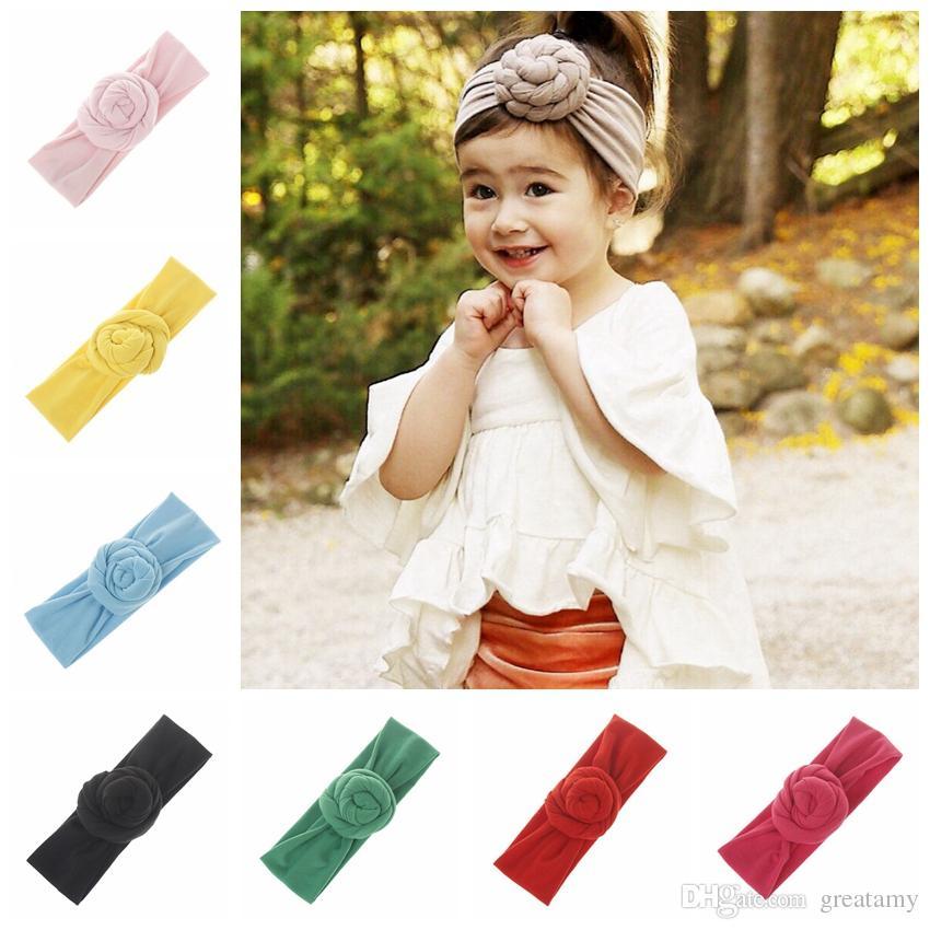Baby Infant Top Knot Headband Girls Solidne Turban Hairband Elastyczne Noworodek Baby Cute Headwrap Kids Fryzury