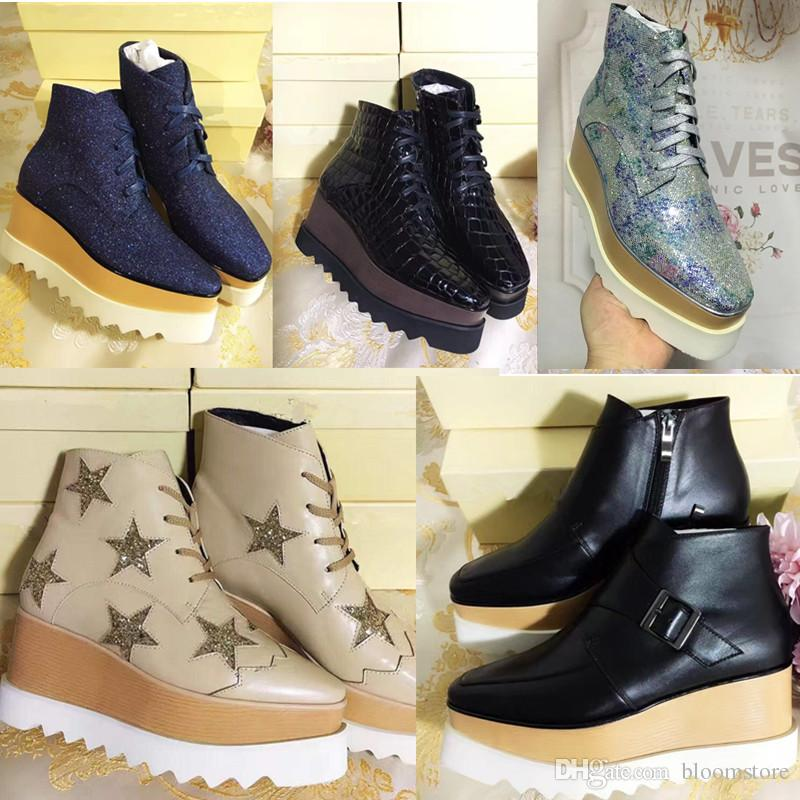 f75327c5562 Stella Mccartney Platform Boots Women Shoes Elyse Stars Wedges Top Quality  Blingbling Full Grain Leather Oxfords Shoes Sneakers Shoes Uk Pumps Shoes  From ...