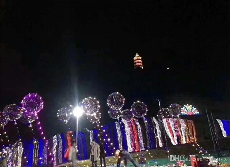 Luminosa Led Balão Colorido Transparente Rodada Bolha Decoração Festa de Casamento Balões de Iluminação no Escuro 3 M Corda c222