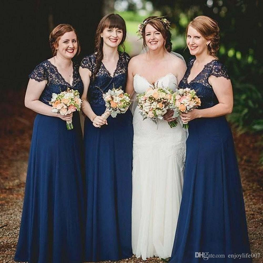 2017 plus size navy blue bridesmaid dresses chiffon lace top maid 2017 plus size navy blue bridesmaid dresses chiffon lace top maid of honor dresses v neck long train formal beach boho wedding guest gowns lace gown long ombrellifo Image collections