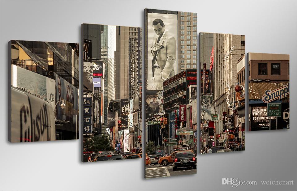 Acheter Set Encadré Hd Imprimé Carrefour Du Monde New York Peinture Toile Imprimer Décor De La Chambre Imprimer Affiche Photo Toile Livraison