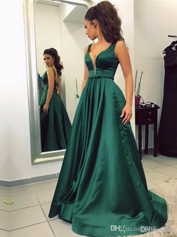 2017 Vestidos De Noche Largos Elegantes Глубокий V-Образным Вырезом Зеленый Атлас Длинные Вечерние Платья Дешевые Платье Выпускного Вечера