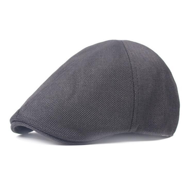 Summer Adult Unisex Berets Solid Color Visors Caps Golf Driving Cabbie Duckbill Newsboy Flax Hat for Men Woman CS-062