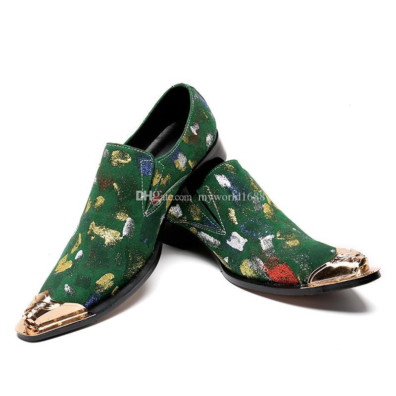 Золото Металл Toe Мужская модельная обувь граффити Блочные Каблуки Мужской Creepers замша Zapatillas Hombre Стиль