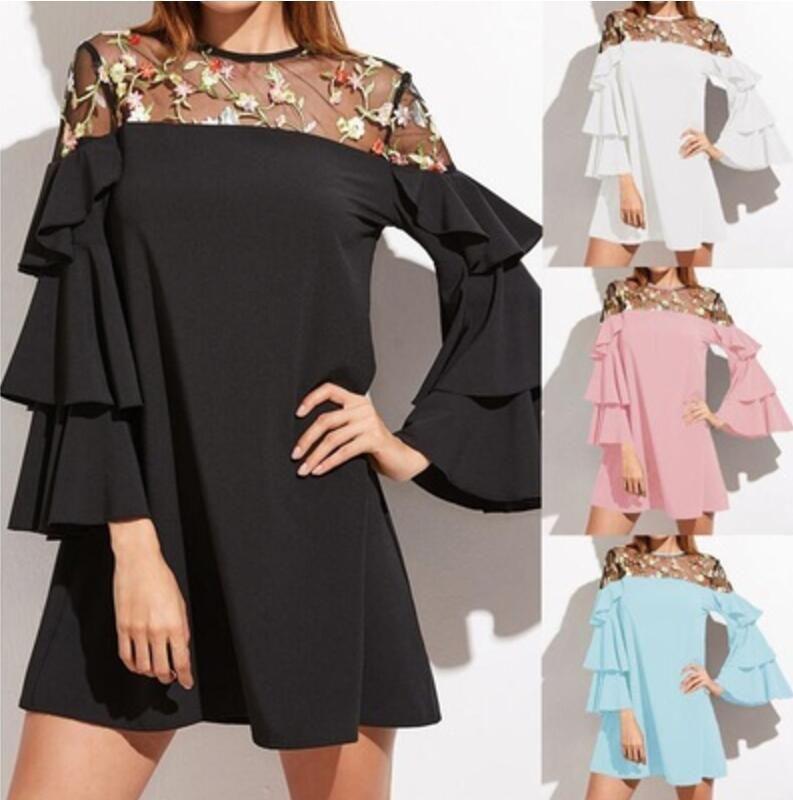 Plus Size Women Bell Sleeve Splice Flouncing Evening Party Club Mini Shirt Dress Embroidered Lace Dress Black S-XXXXXL