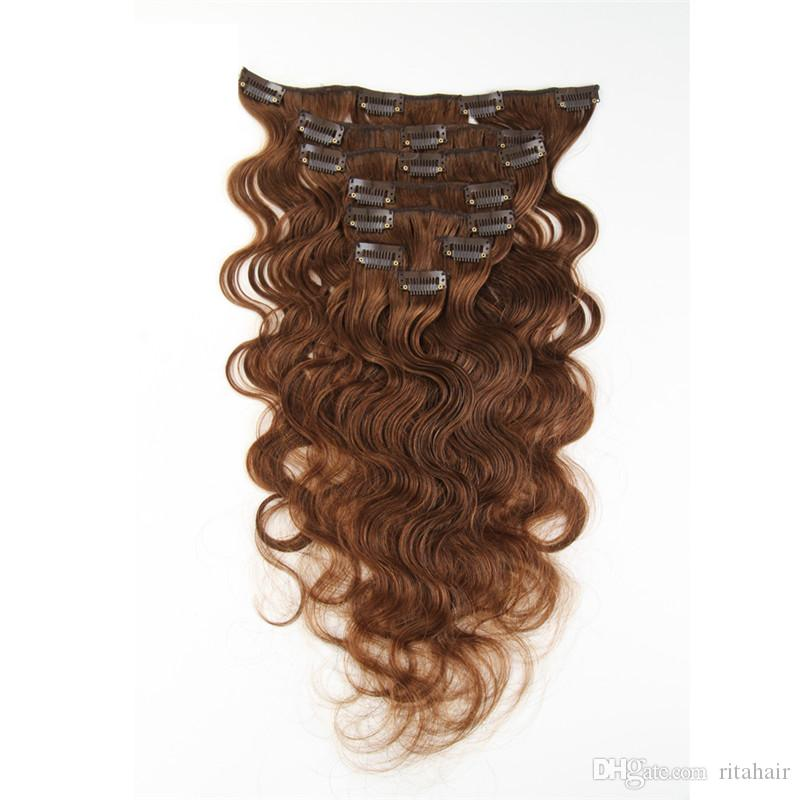 100 200g Remy Clip In Hair Extension Body Wave All Colors Clip In