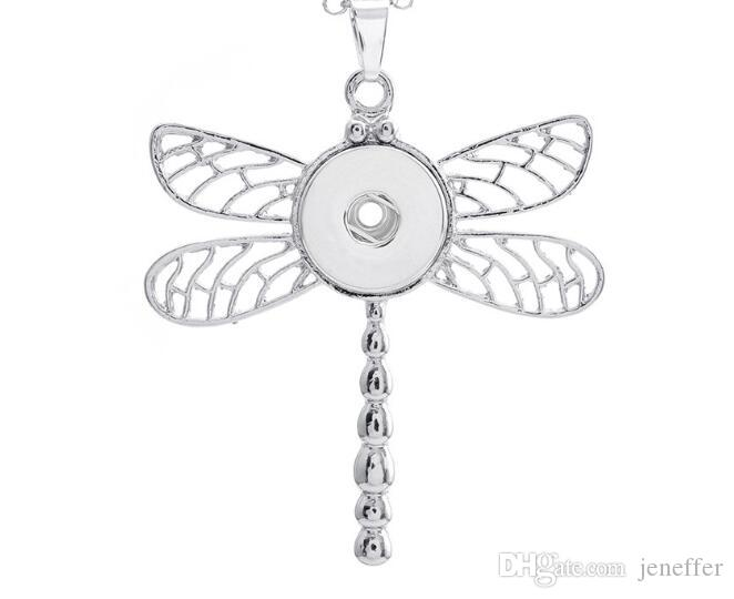 New dragonfly flower leaf circle noosa necklace pendant snap button pendant fit 18mm charm diy jewelry accessories without chain