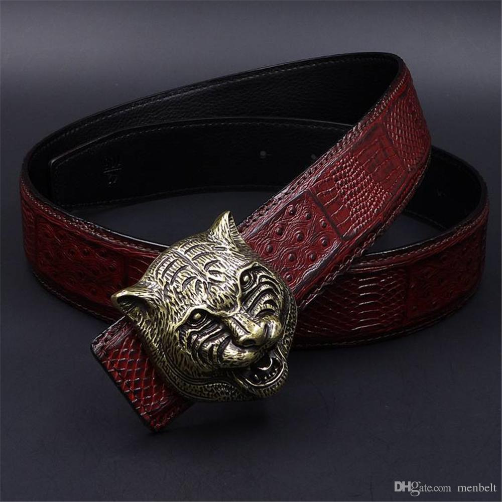 Mens Belts Luxury 3D Tiger Head Heavy Metal Belt Buckle Genuine Leather Men  Belt Western Cowboy Punk Rock Style Jeans Ceinture Cinturones Buckles Below  The ... d48b87d9fbb
