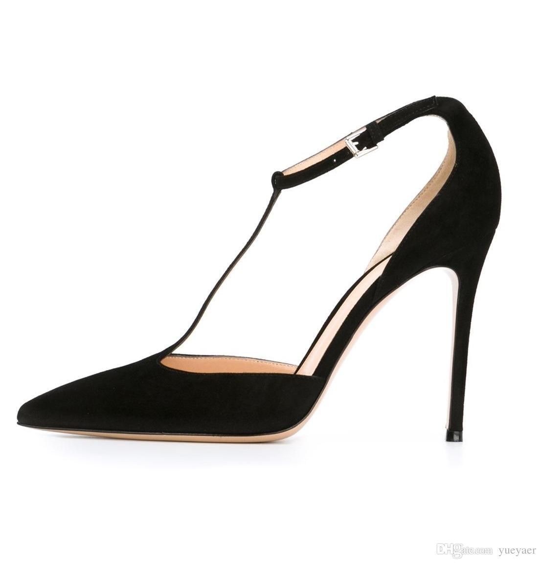 Zandina Bayan Moda El Yapımı T-kayışı Toka Ayak Bileği Kayışı Sivri Burun 100mm Yüksek Topuk Parti Balo Akşam Pompaları Stiletto Ayakkabı Siyah K330