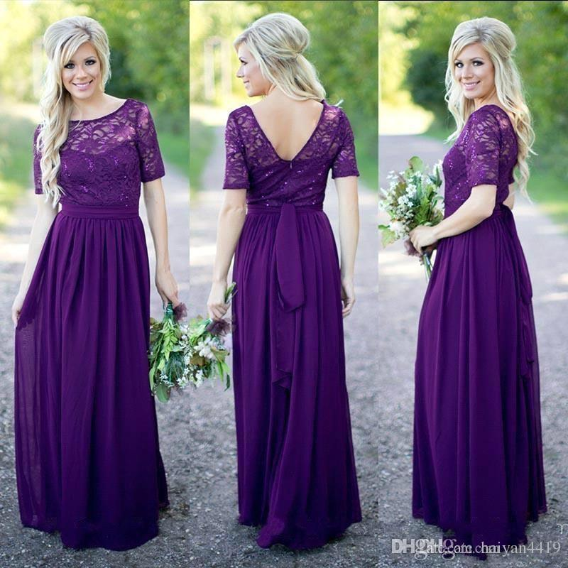 b4b45b34a1cc Country Bridesmaid Dresses 2017 Hot Long For Weddings Navy Blue Purple  Chiffon Short Sleeves Lace Beaded Floor Length Maid Of Honor Gowns Dark  Grey ...