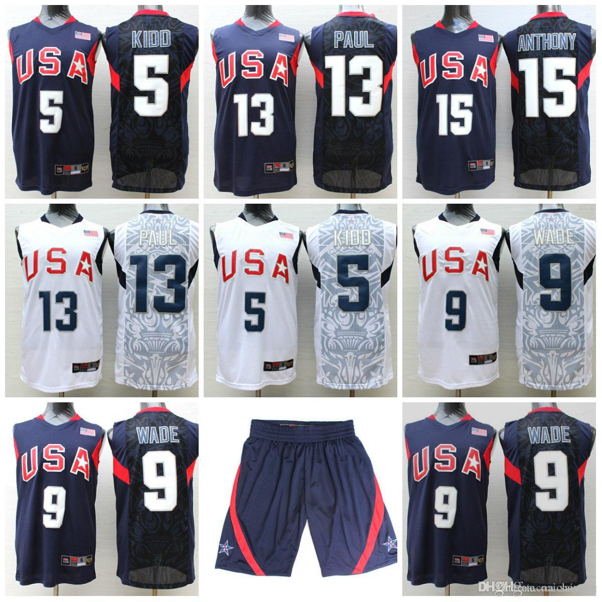 ... 2017 2017 Usa Dream Team Jerseys Shorts 5 Jason Kidd Jersey 13 Chris  Paul 9 Dwyane ... e8793079c