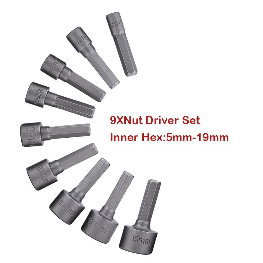 DHL 50Set 9pcs/set 5mm-13mm Hex Socket Sleeve Nozzles Nut Driver Set Drill Bit Adapter