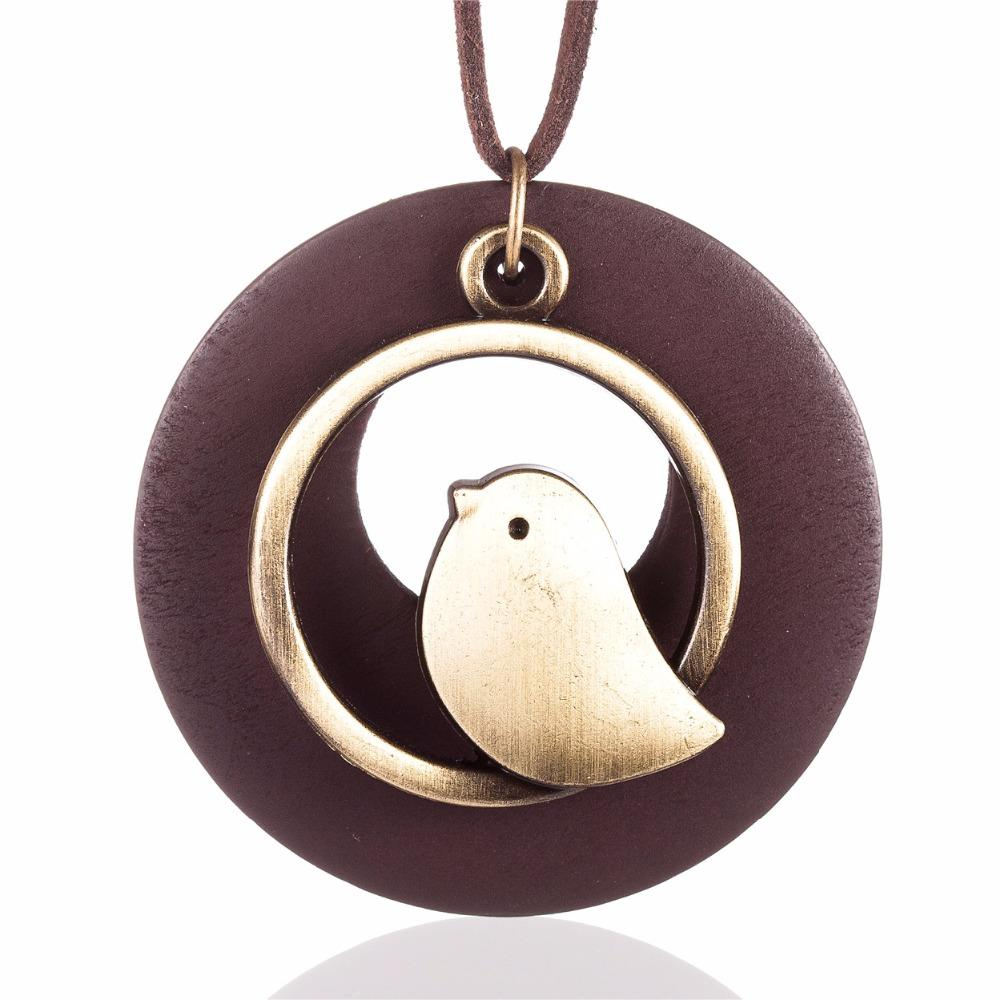 Wholesale woman jewelry statement necklaces pendants bird wooden wholesale woman jewelry statement necklaces pendants bird wooden bead pendant vintage long necklace women christmas gift collares mujer statement aloadofball Images