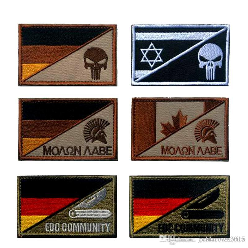VP-171 German flag Spartan (punisher) military Patches Tactical embroidery  Patches badges Hook & Loop Embroidery Badges army patch