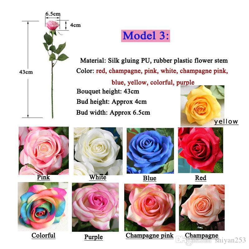 white color 10 Head Decor Rose Artificial Flowers Silk Flowers Floral Latex Real Touch Rose Wedding Bouquet Home Party Design Flowers