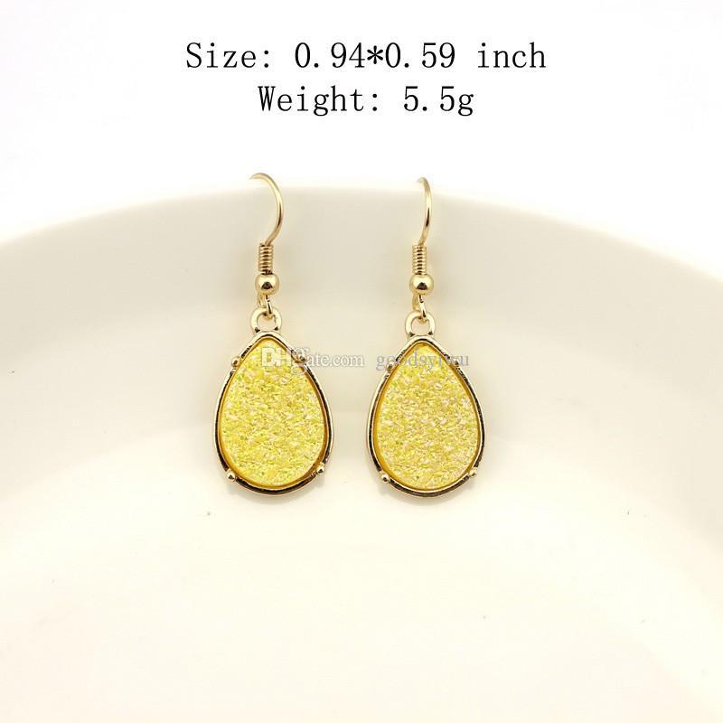 Hot Selling Drusy Dangle Mini Teardrop Faux Druzy Earrings Necklace for Women Gold Fashion Water Drop Earrings Popular Women Jewelry
