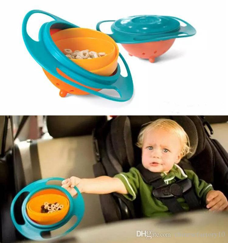 Children Baby 360 Rotate Gyro Food Dishes Spill-proof Toddler Training Bowl Feeding