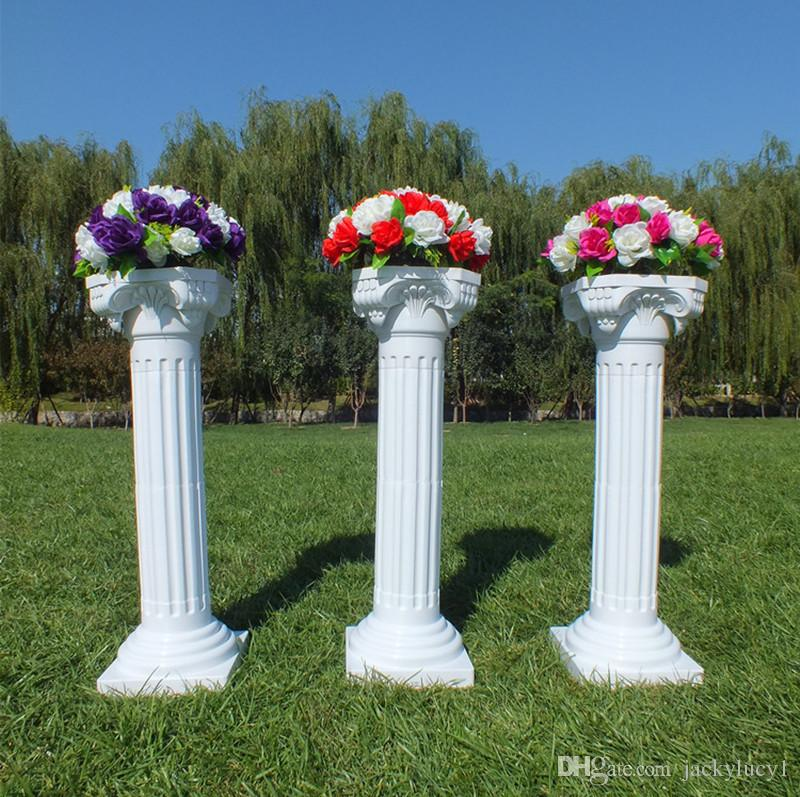 Upscale Style Roman Columns White Color Plastic Pillars Road Cited