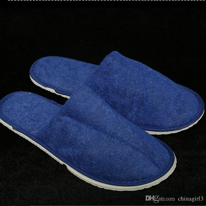 DHL Cheapest nice quality soft one-time slippers disposable shoe home Blue sandals hotel Spa Guest Shoes travel shoes