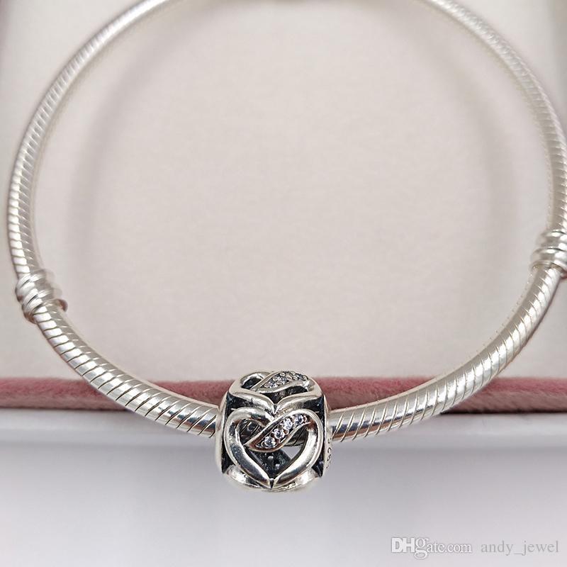 San Valentino 925 perle d'argento nastro d'amore fascino adatto europeo Pandora gioielli stile collana bracciali 792046CZ amore cuore regali