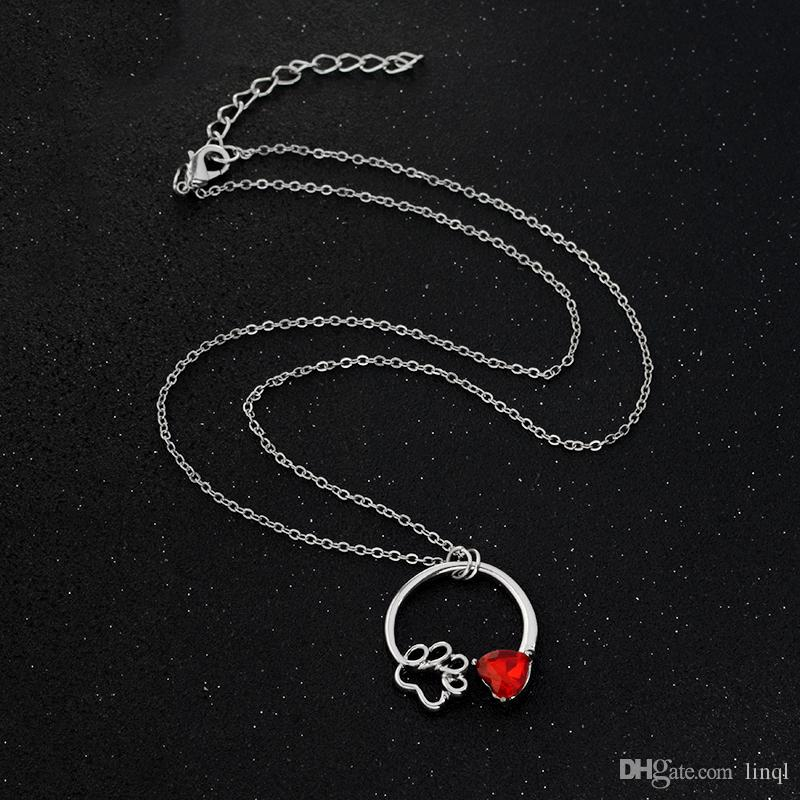 Qihe مجوهرات الكفوف المولد قلادة الكلب القط الحيوانات الكفوف سحر قلادة فضية اللون الأولي مجوهرات التذكارية هدية